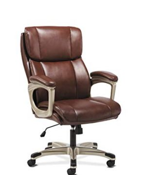 Sadie Executive Computer Chair Fixed Arms For Office Desk Brown Leather HVST316 0 300x360