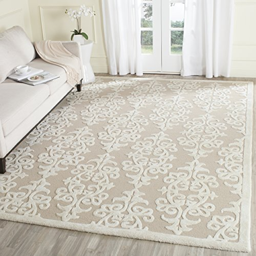Safavieh Bella Collection BEL127B Handmade Sand And Ivory Premium Wool Area Rug 9 X 12 0