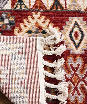 Safavieh Farmhouse Collection FMH814Q Southwestern Tribal Bohemian Tassel Area Rug 9 X 12 RedIvory 0 0 300x360
