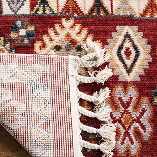 Safavieh Farmhouse Collection FMH814Q Southwestern Tribal Bohemian Tassel Area Rug 9 X 12 RedIvory 0 0