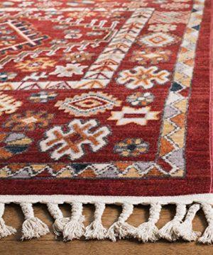 Safavieh Farmhouse Collection FMH814Q Southwestern Tribal Bohemian Tassel Area Rug 9 X 12 RedIvory 0 1 300x360