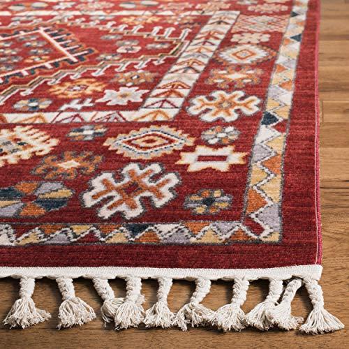 Safavieh Farmhouse Collection FMH814Q Southwestern Tribal Bohemian Tassel Area Rug 9 X 12 RedIvory 0 1