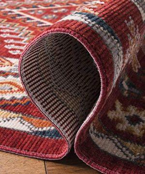 Safavieh Farmhouse Collection FMH814Q Southwestern Tribal Bohemian Tassel Area Rug 9 X 12 RedIvory 0 4 300x360
