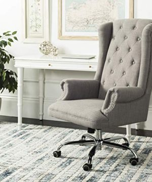 Safavieh Home Ian Grey Linen And Chrome Leg Swivel Office Chair 0 300x360