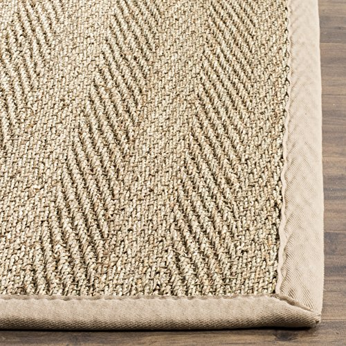 Safavieh Natural Fiber Collection NF115A Herringbone Natural And Beige Seagrass Area Rug 9 X 12 0 1