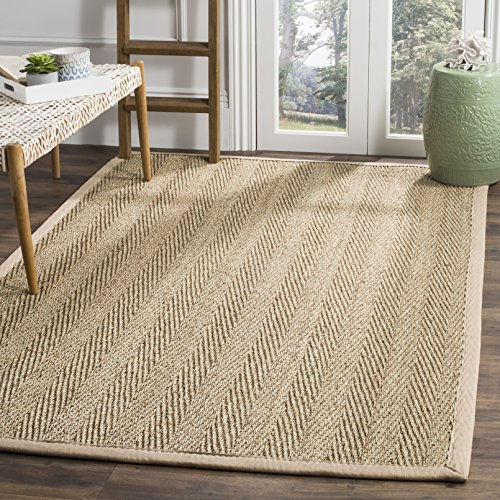 Safavieh Natural Fiber Collection NF115A Herringbone Natural And Beige Seagrass Area Rug 9 X 12 0 3