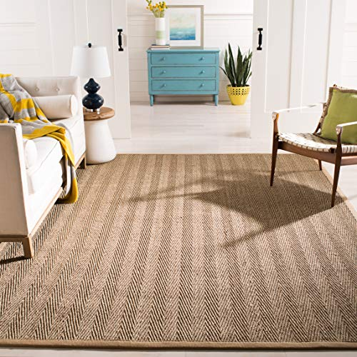 Safavieh Natural Fiber Collection NF115A Herringbone Natural And Beige Seagrass Area Rug 9 X 12 0