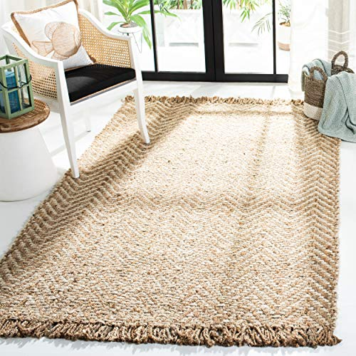 Safavieh Natural Fiber Collection NF458A Hand Woven Bleach And Natural Jute Area Rug 9 X 12 0