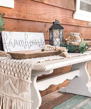 SnugLife Macrame Table Runner 86 X 13 Long Boho Table Runner Wedding Table Decor Vintage Farmhouse And Bohemian Dining Room Style Off White 0 0 300x360