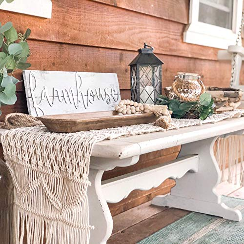 SnugLife Macrame Table Runner 86 X 13 Long Boho Table Runner Wedding Table Decor Vintage Farmhouse And Bohemian Dining Room Style Off White 0 0