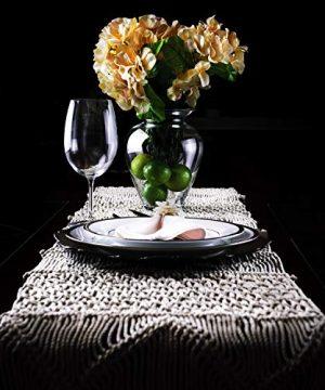 SnugLife Macrame Table Runner 86 X 13 Long Boho Table Runner Wedding Table Decor Vintage Farmhouse And Bohemian Dining Room Style Off White 0 3 300x360