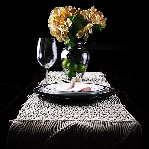 SnugLife Macrame Table Runner 86 X 13 Long Boho Table Runner Wedding Table Decor Vintage Farmhouse And Bohemian Dining Room Style Off White 0 3