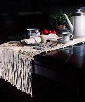 SnugLife Macrame Table Runner 86 X 13 Long Boho Table Runner Wedding Table Decor Vintage Farmhouse And Bohemian Dining Room Style Off White 0 4 300x360