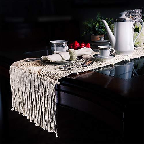 SnugLife Macrame Table Runner 86 X 13 Long Boho Table Runner Wedding Table Decor Vintage Farmhouse And Bohemian Dining Room Style Off White 0 4