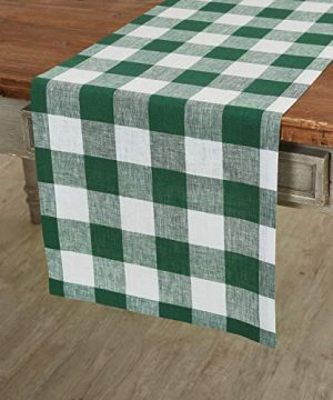 Solino Home 100 Pure Linen Buffalo Check Table Runner 14 X 120 Inch Green White Checks Table Runner Natural Fabric Handcrafted From European Flax 0 300x360