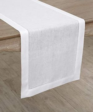 Solino Home 100 Pure Linen Hemstitch Table Runner 14 X 144 Inch Handcrafted From European Flax Machine Washable Classic Hemstitch White 0 1 300x360