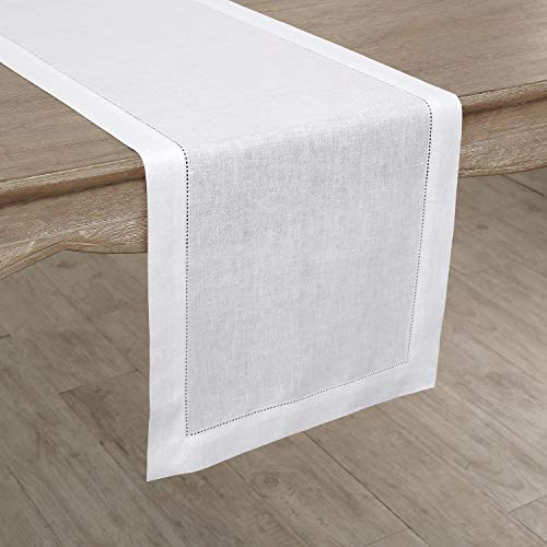 Solino Home 100 Pure Linen Hemstitch Table Runner 14 X 144 Inch Handcrafted From European Flax Machine Washable Classic Hemstitch White 0 1