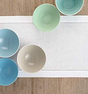 Solino Home 100 Pure Linen Hemstitch Table Runner 14 X 144 Inch Handcrafted From European Flax Machine Washable Classic Hemstitch White 0 2 300x318