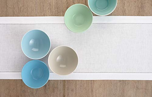Solino Home 100 Pure Linen Hemstitch Table Runner 14 X 144 Inch Handcrafted From European Flax Machine Washable Classic Hemstitch White 0 2