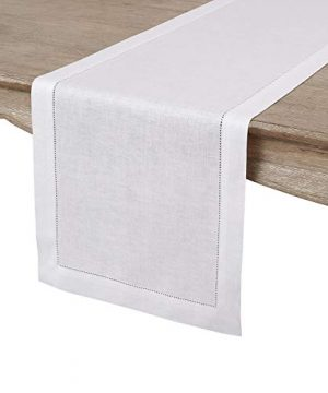 Solino Home 100 Pure Linen Hemstitch Table Runner 14 X 144 Inch Handcrafted From European Flax Machine Washable Classic Hemstitch White 0 300x360