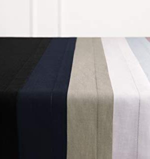 Solino Home 100 Pure Linen Hemstitch Table Runner 14 X 144 Inch Handcrafted From European Flax Machine Washable Classic Hemstitch White 0 5 300x318