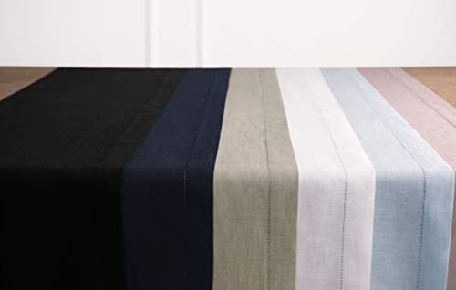 Solino Home 100 Pure Linen Hemstitch Table Runner 14 X 144 Inch Handcrafted From European Flax Machine Washable Classic Hemstitch White 0 5
