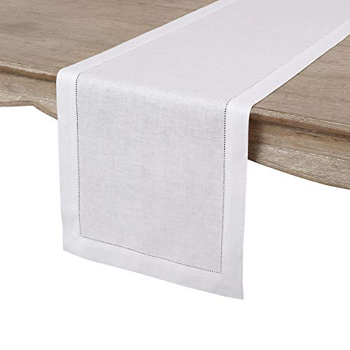 Solino Home 100 Pure Linen Hemstitch Table Runner 14 X 144 Inch Handcrafted From European Flax Machine Washable Classic Hemstitch White 0