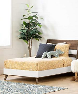 South Shore Yodi Complete Bed Twin Natural Walnut And Pure White 0 300x360