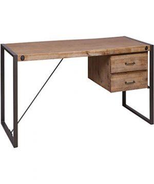 Stein World 76352 Desk Kara Brushed Saw Cut Wood Grey Bronze Metal 0 300x360