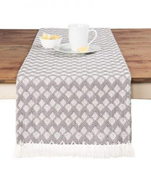 Sticky Toffee Cotton Woven Table Runner With Fringe Scalloped Diamond Gray 14 In X 72 In 0 300x360