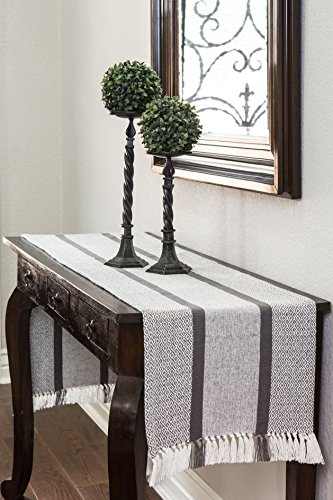 Sticky Toffee Cotton Woven Table Runner With Fringe Traditional Diamond Gray 14 In X 72 In 0 0