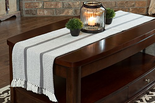 Sticky Toffee Cotton Woven Table Runner With Fringe Traditional Diamond Gray 14 In X 72 In 0 1