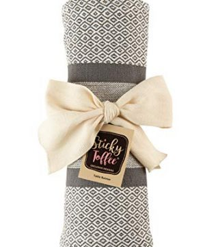 Sticky Toffee Cotton Woven Table Runner With Fringe Traditional Diamond Gray 14 In X 72 In 0 3 300x360