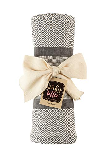 Sticky Toffee Cotton Woven Table Runner With Fringe Traditional Diamond Gray 14 In X 72 In 0 3