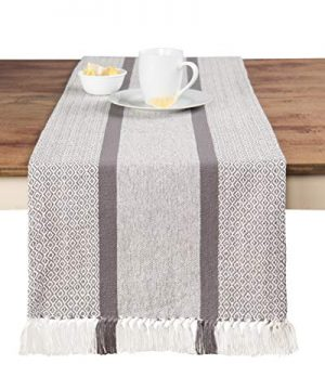 Sticky Toffee Cotton Woven Table Runner With Fringe Traditional Diamond Gray 14 In X 72 In 0 300x360