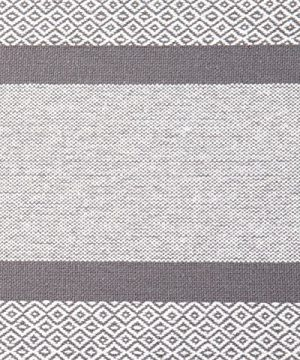 Sticky Toffee Cotton Woven Table Runner With Fringe Traditional Diamond Gray 14 In X 72 In 0 4 300x360