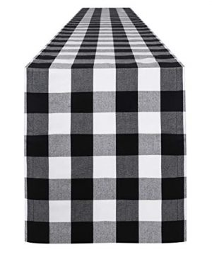 Syntus 14 X 72 Inch Buffalo Check Table Runner Cotton Polyester Blend Handmade Black And White Plaid For Family Dinner Outdoor Or Indoor Parties Farmhouse Thanksgiving Christmas Gathering 0 300x360