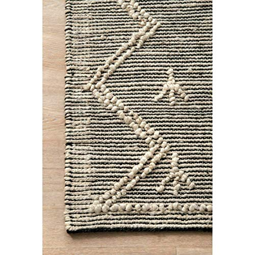 THE RAISE Area Rug Mat Rug Contemporary Handmade Moroccan Julianne Jute Area Rug In Gray 9 X 12 3 0 1