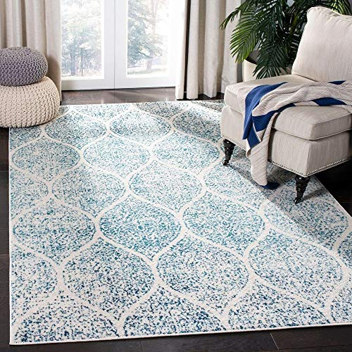 TRP 9 X 12 Eclectic Boho Rugs Vintage Glam Style Oriental Area Rugs Polypropylene Contains Latex Shabby Chic Geometric Ogee Pattern Turquoise Blue Color Farmhouse Area Rugs Indoor Patio 0