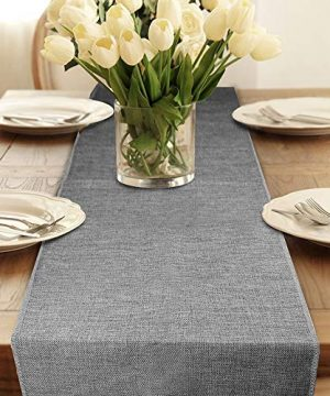 Table Runner Gray Burlap Table Runners Modern Farmhouse Table Runner For Coffee Table Dining Table Cover Dresser Entryway Summer Table Runner Party Decorations 12 X 108 Inches Long Table Runners 0 300x360