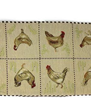 Tache Home Fashion Country Farmhouse Rooster Hens Antique Vintage Traditional Home Decorative Woven Tapestry Table Runners 13x72 0 0 300x360