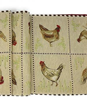 Tache Home Fashion Country Farmhouse Rooster Hens Antique Vintage Traditional Home Decorative Woven Tapestry Table Runners 13x72 0 300x360