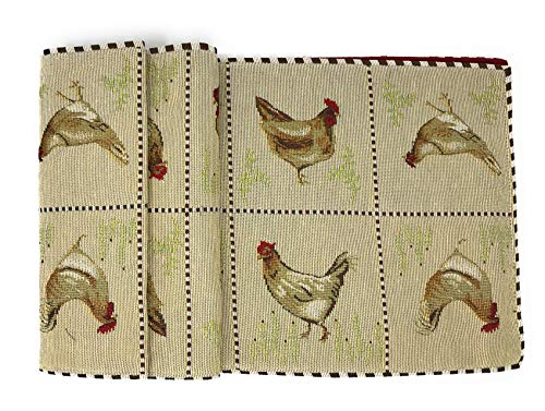 Tache Home Fashion Country Farmhouse Rooster Hens Antique Vintage Traditional Home Decorative Woven Tapestry Table Runners 13x72 0