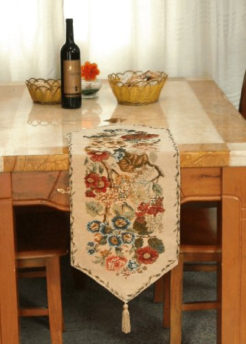 Tache Tapestry Colorful Floral Country Rustic Morning Meadow Table Runner 0