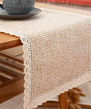 Tasera Burlap Cream Lace Table Runners Table Runner Fashion Contracted Tea Table Cover Table Linen For Restaurant Kitchen Dining Wedding Party Banquet Events Farmhouse Decor 12 W X82 L 0 300x360