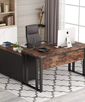 Tribesigns L Shaped Computer Desk 55 Inch Large Executive Office Desk Business Furniture With 40 Inch Lateral Mobile File Cabinet Printer Stand Letter Size For Home Office Rustic Brown 0 300x360