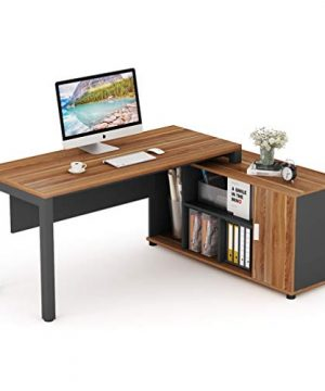 Tribesigns L Shaped Desk Large Computer Desk Computer Table With Storage Shelves Gaming Office Executive Table Business Furniture With File Cabinet Combo Dark Walnut Steel Gray Legs 0 300x360