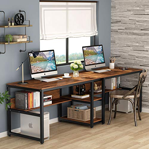 Tribesigns Two Person Desk With Bookshelf 78 7 Computer Office Double Desk For Two Person Rustic Writing Desk Farmhouse Goals