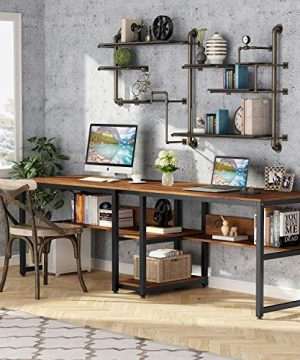 Tribesigns Two Person Desk With Bookshelf 787 Computer Office Double Desk For Two Person Rustic Writing Desk Workstation With Shelf For Home Office Rustic 0 300x360