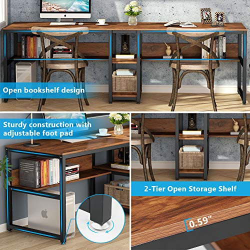 Tribesigns Two Person Desk With, Double Desk Home Office With Drawers